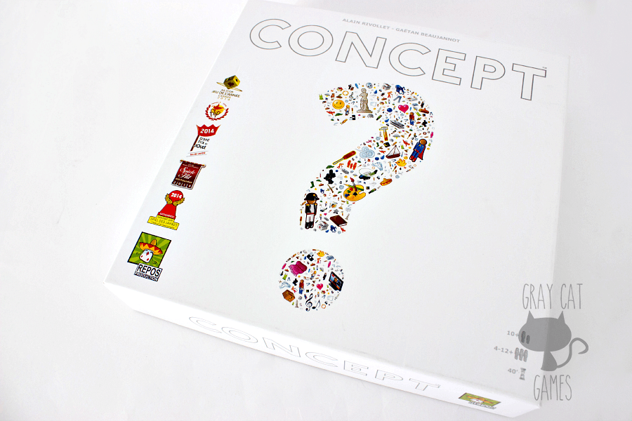 "Concept is a very interesting game with a premise similar to Charades, but without flailing your arms in the air. Commonly referred to as, ""Charades for writers."" It relies on your ability to convey ideas visually in a format that also doesn't require you to draw. 