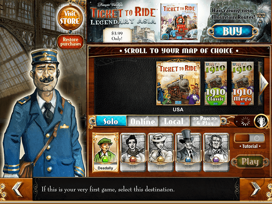 Ticket to Ride is a really well-known introductory board game made by Days of Wonder. The mobile version is a great translation of a really fun board game, assuming you have someone to play with! || via graycatgames.com #boardgames #games #gaming #daysofwonder #tickettoride #mobile #ipad #ios