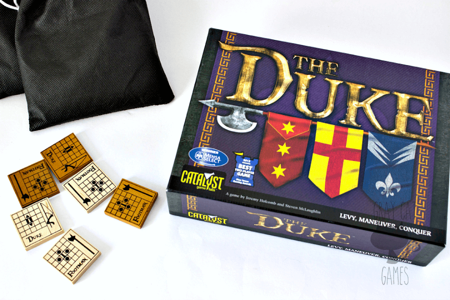 The Duke is a fun take on chess with more randomness thrown in to balance the difficulty. It is an addicting and quick two-player experience with amazing components.