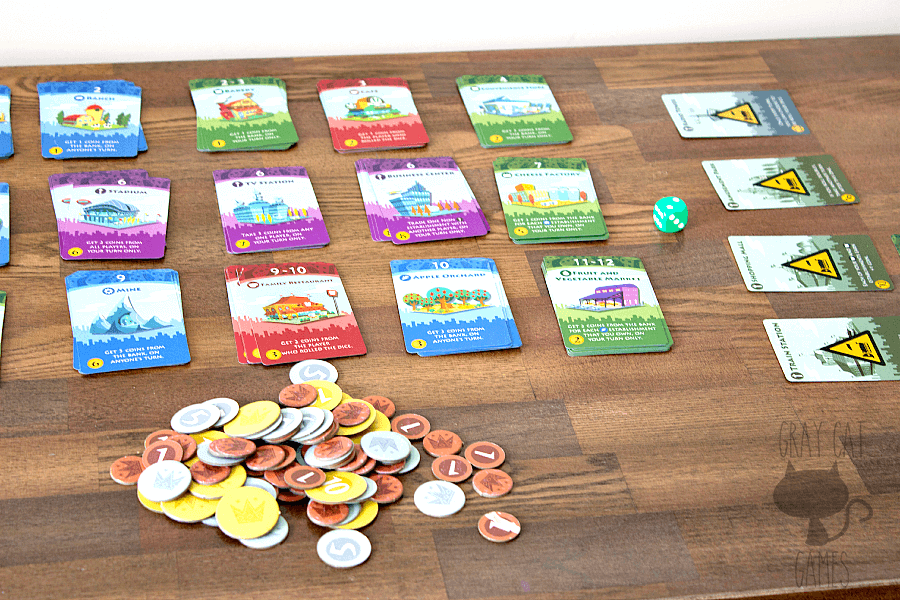 Machi Koro is a cartoon-y, cute, fun game that uses dice rolling and card buying in a race to finish a town. It plays really well for 2-4 players and provides a breezy, interesting experience. It's hard to go wrong with a Spiel des Jahres nominee!